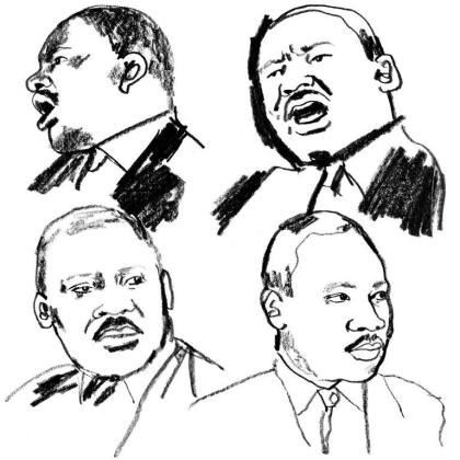 2017 sketches of 4 MLK faces