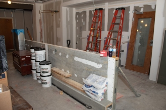 The beginnings of the bar that will be in the new pub (previously part of the Overlook Lounge)