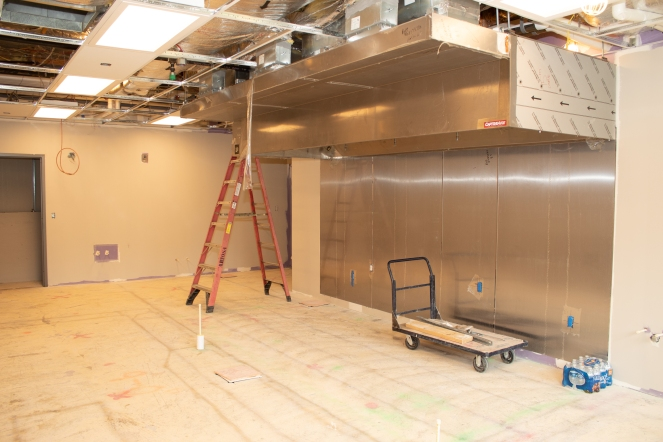 The kitchen for the new pub (previously the Lakeside Commons Card Room/Library)